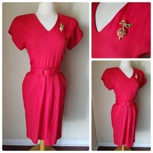 Dresses & Skirts - Vintage Red Belted Cocktail Dress & brooch